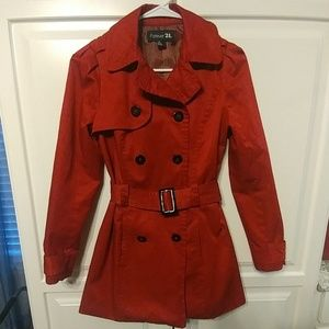 Forever 21 Trench Coat Red